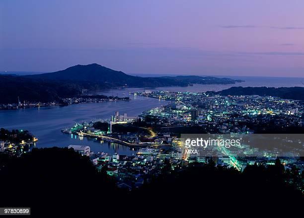 night view of kesennuma port, kesennuma, miyagi, japan - miyagi prefecture stock pictures, royalty-free photos & images