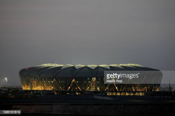 Night view of King Abdullah sports city stadium before the Juventus press conference Italian Supercup previews on January 15 2019 in Jeddah Saudi...