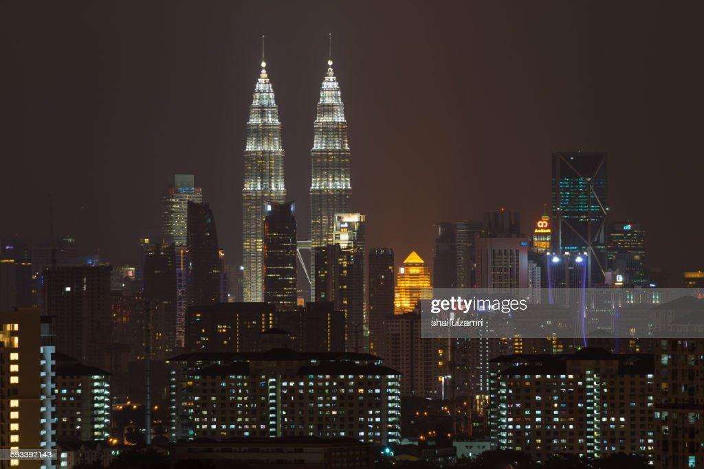 Night view of KLCC in Kuala Lumpur : Stock Photo
