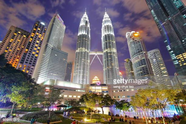 night view of klcc - malaysia stock pictures, royalty-free photos & images