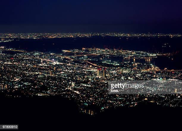 night view of kobe, kobe, hyogo, japan - nada lichter stock-fotos und bilder