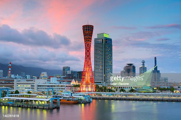 night view of kobe port - kobe stock photos and pictures