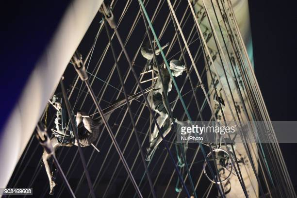 A night view of Krakow's Father Bernatek Footbridge and its acrobatic sculptures On Sunday 21 January 2018 in Krakow Poland