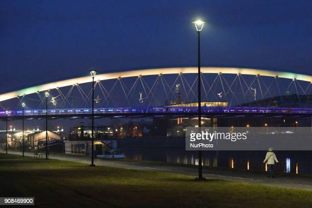 A night view of Krakow's Father Bernatek Footbridge On Sunday 21 January 2018 in Krakow Poland