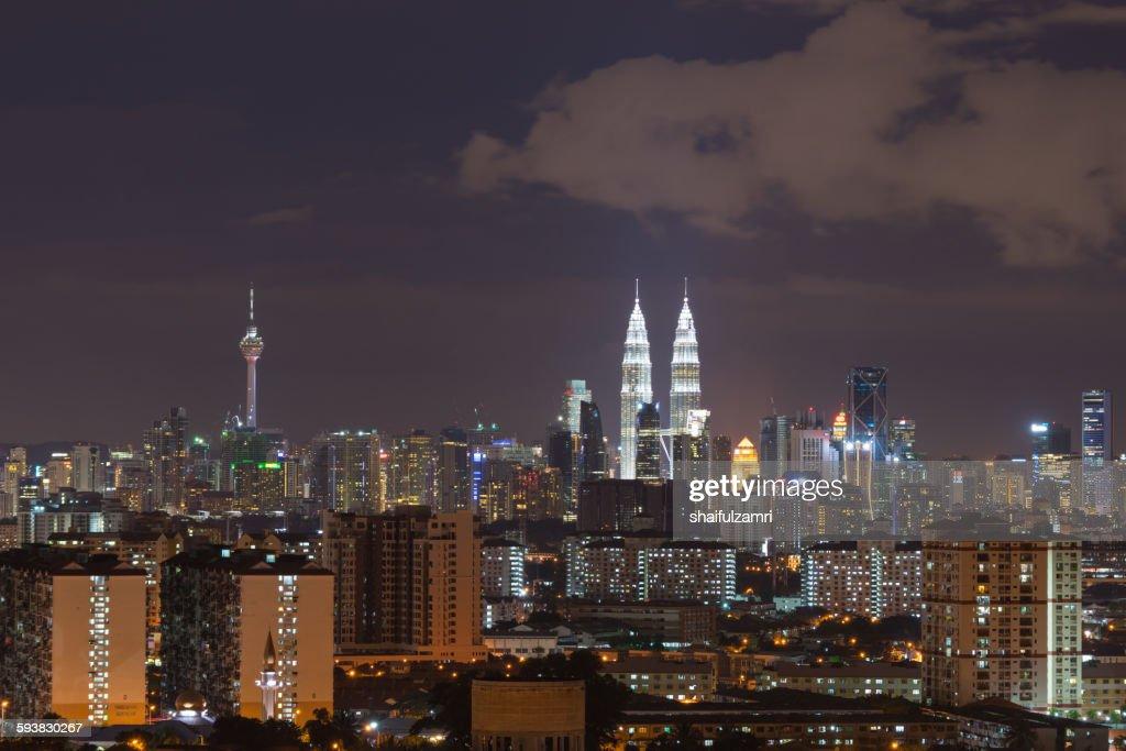 Night view of Kuala Lumpur skyline : Stock Photo