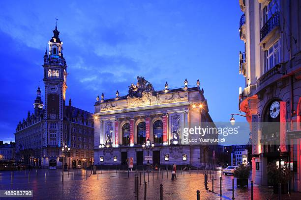 Night view of Lille Opera and Chamber of Commerce