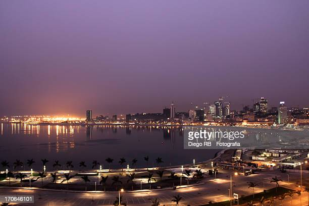 Night view of Luanda bay area