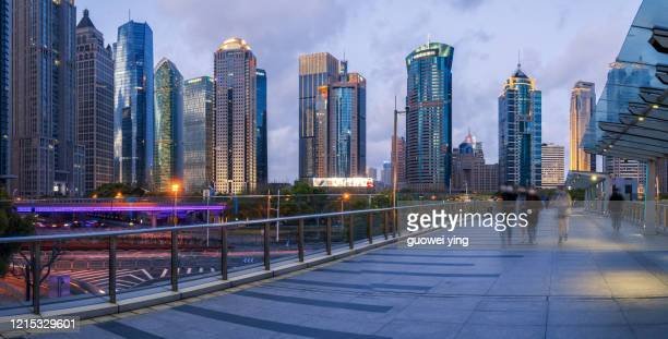 night view of lujiazui skyscraper in pudong, shanghai - central bank stock pictures, royalty-free photos & images