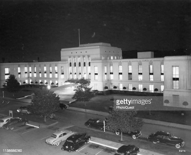 Night view of Metro-Goldwyn-Mayer Studio's Thalberg Building, Hollywood, California, 1953. It was completed in 1938 and named after producer Irving...