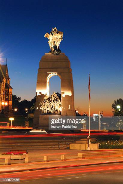 night view of national war memorial, ottawa canada. - tomb of the unknown soldier stock photos and pictures