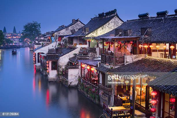 Night View of Old Water Village, Xitang, China