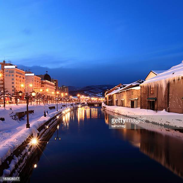Night view of Otaru Hokkaido Prefecture in Japan