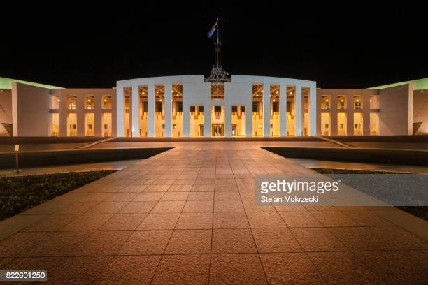 Night View Of Parliament House, Canberra, Australia