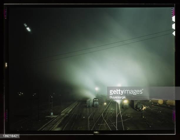 Night view of part of Santa Fe Railroad yard, Kansas City, Kansas, 1943.