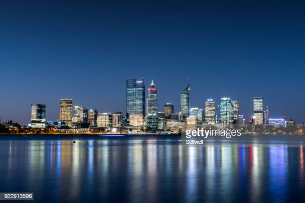 night view of perth - perth australia stock photos and pictures