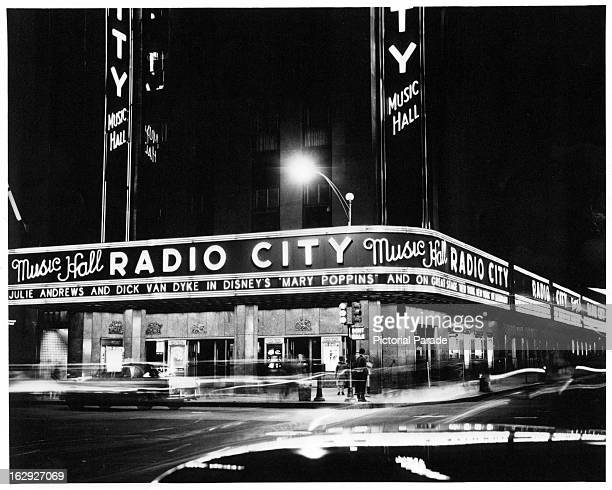 Night view of Radio City Music Hall in New York City New York 1955