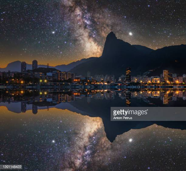 night view of rio de janeiro, brazil. corcovado. statue of christ the redeemer - anton petrus stock pictures, royalty-free photos & images