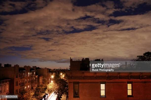 night view of rooftops in bedford stuyvesant, brooklyn, new york city - brooklyn new york stock pictures, royalty-free photos & images