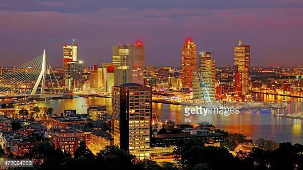 Night view of Rotterdam harbor
