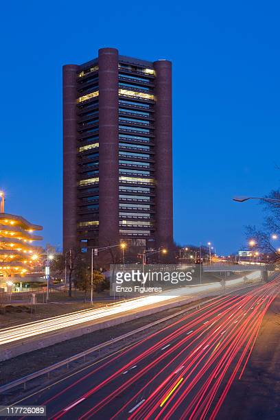 Night view of Route 34 in New Haven Connecticut, with skyscraper in the background