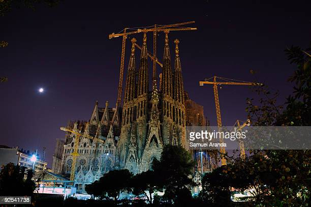 Night view of Sagrada Familia church on October 23 2009 in Barcelona Spain It is a Roman Catholic church which has been under construction in...