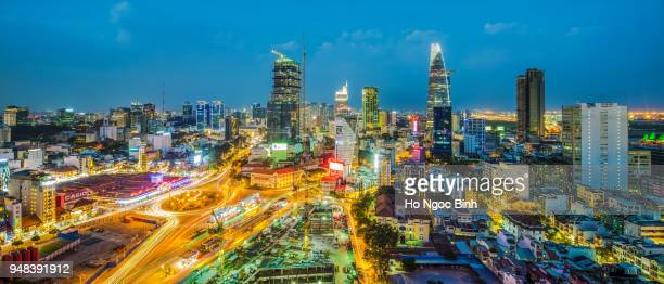 Night view of Sai Gon Cityscape at downtown of Ho Chi Minh City, Vietnam