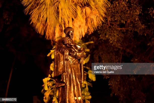 Night view of Saint Benedict´image, patron saint of Cuiabá