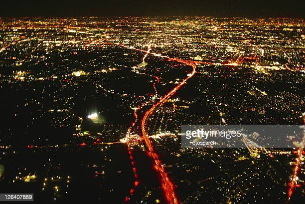 night view of saitama city area, aerial view, long exposure - saitama prefecture stock pictures, royalty-free photos & images