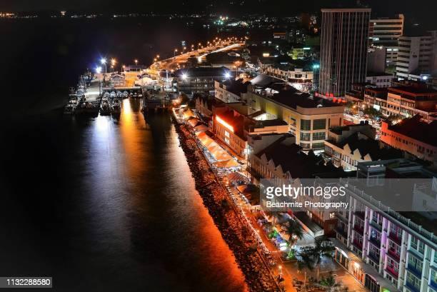 night view of sandakan city, sabah - sabah state stock pictures, royalty-free photos & images