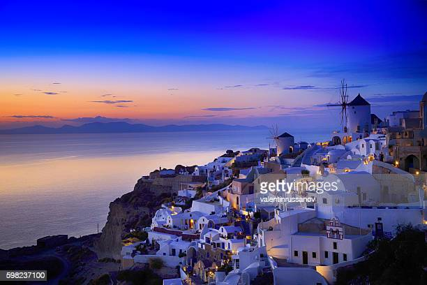 night view of santorini island, greece - greece stock pictures, royalty-free photos & images