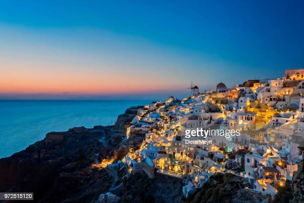 night view of santorini island, oia - greece - santorini stock pictures, royalty-free photos & images