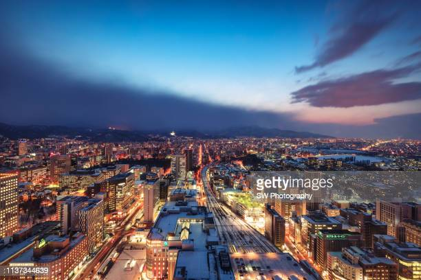 night view of sapporo city, hokkaido, japan - sapporo stock pictures, royalty-free photos & images