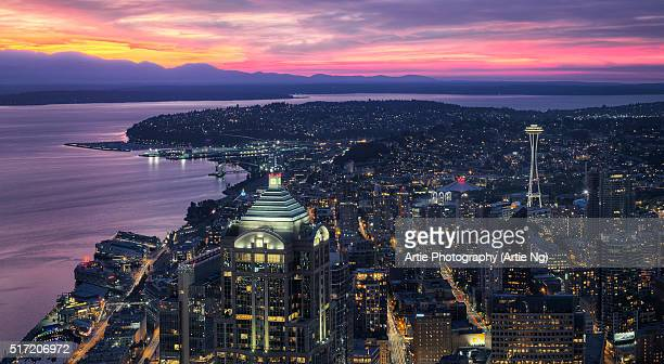 Night View of Seattle Skyscapers And Space Needle, Washington, United States