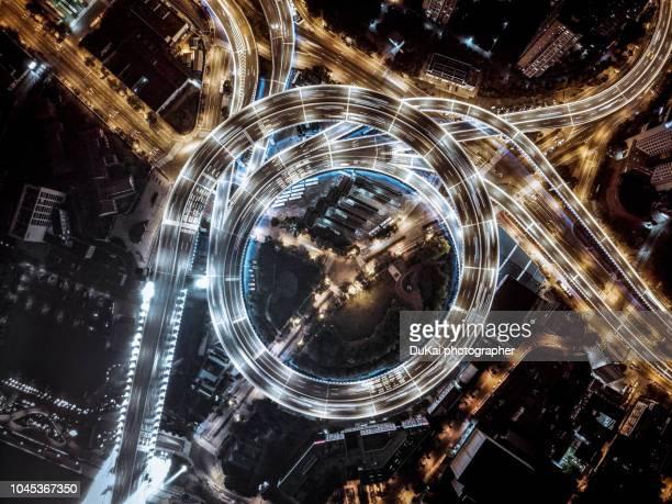 Night view of Shanghai Nanpu Bridge