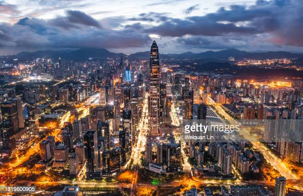 night view of shenzhen city skyline in china - shenzhen stock pictures, royalty-free photos & images
