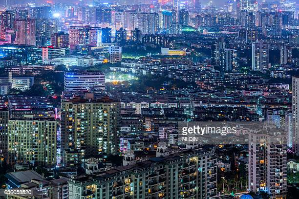Night view of Shenzhen city skyline