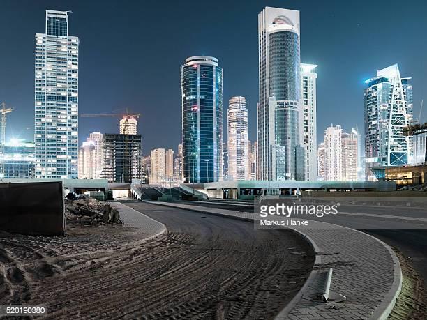 Night view of skyline, Dubai, United Arab Emirates