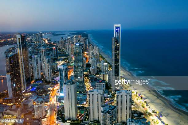 night view of skyline of gold coast, brisbane, australia - brisbane stock pictures, royalty-free photos & images