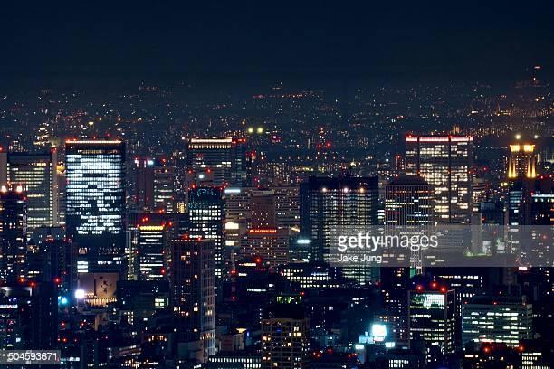 Night view of skyscrapers in Osaka's Umeda