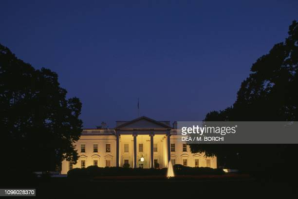 Night view of South Facade of White House by James Hoban , Washington DC, District of Columbia, United States of America, 19th century.