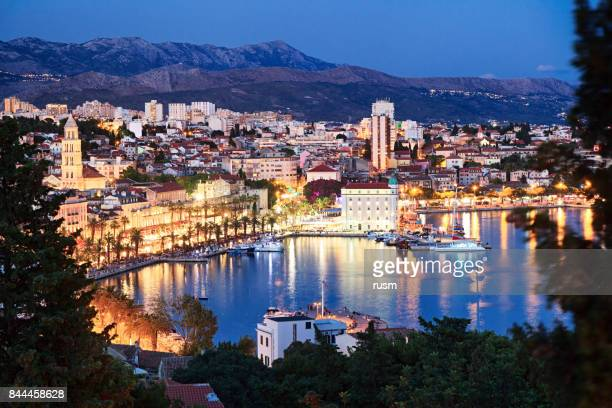 Night view of Split old town, Croatia