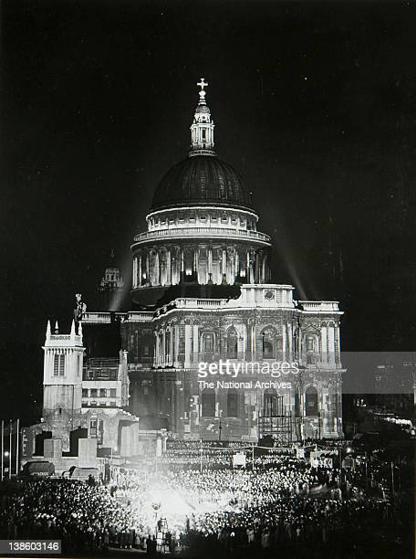 Night view of St Paul's Cathedral May 1951