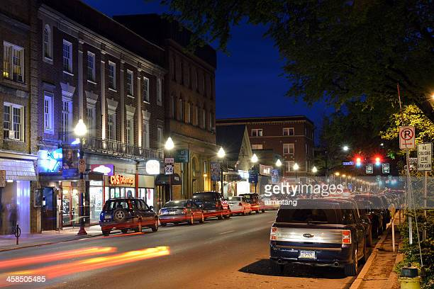 night view of state college downtown - state college pennsylvania stock photos and pictures