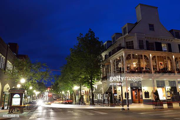 night view of state college downtown - state college stock photos and pictures