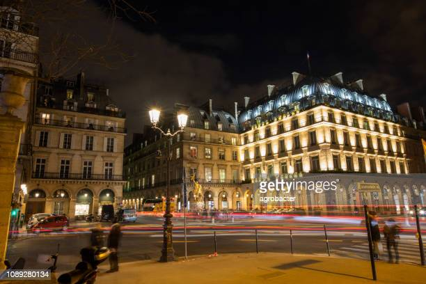 night view of statue jeanne d'arc in paris, france - religious symbol stock pictures, royalty-free photos & images
