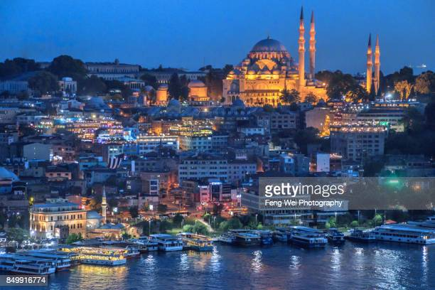 Night View Of Suleymaniye Mosque, Sultanahmet, Istanbul, Turkey