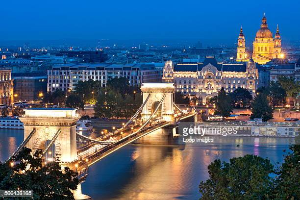 A night view of Szechenyi Chain Bridge over the Danube River in Budapest