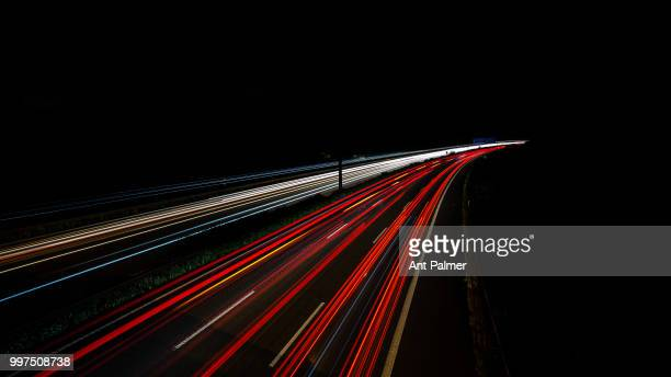 Night view of the A3 Autobahn direction Arnhem on July 10 2018 in Oberhausen Germany