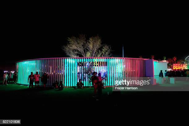 A night view of the art installation Portals by Philip K Smith III during day 3 of the 2016 Coachella Valley Music And Arts Festival Weekend 1 at the...