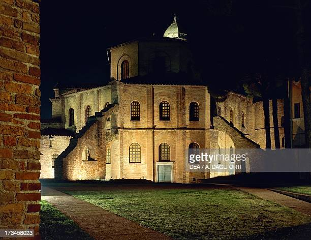 Night view of the Basilica of San Vitale Ravenna EmiliaRomagna Italy